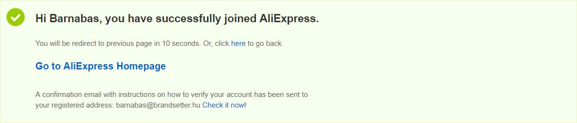 Sikeres aliexpress regisztráció