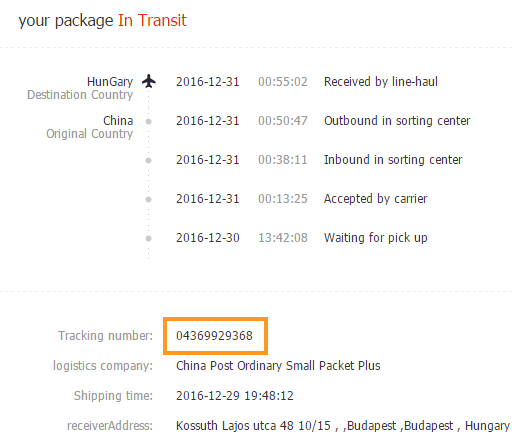 Aliexpress tracking number