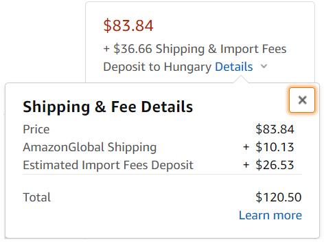 amazon global shipping program költség lebontás