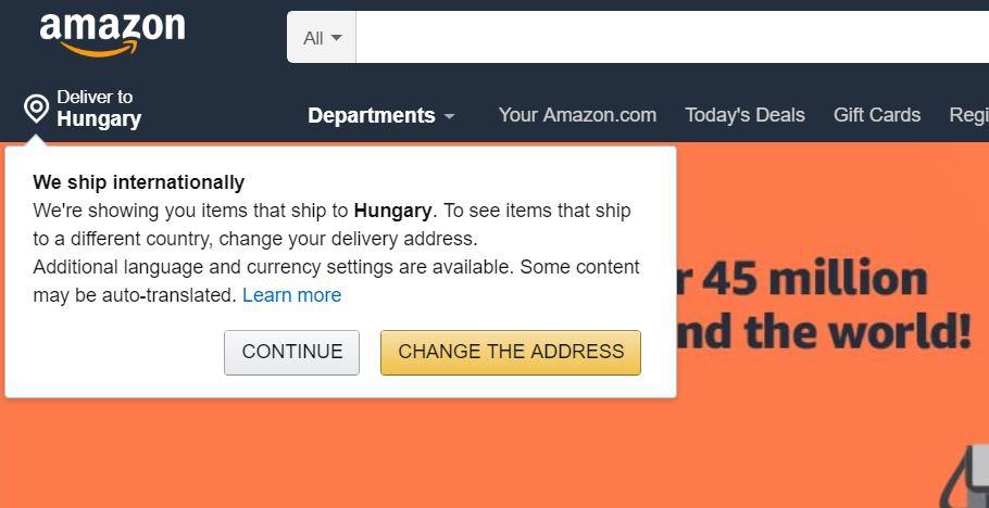 Amazon ország beállítás